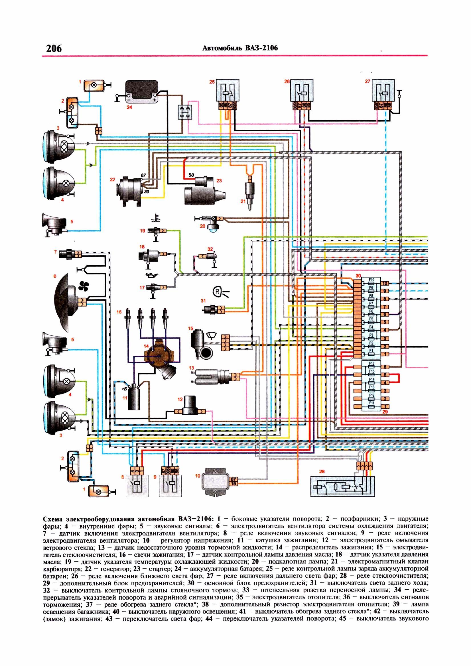 схема света на ваз 2108