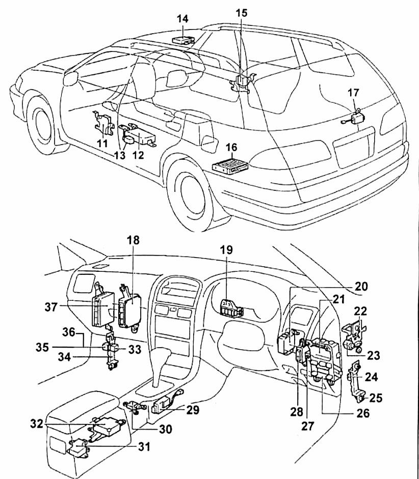 Схема кузова тойота калдина